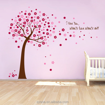 sakura flower tree wall decals living room murals vinyl 3d removable