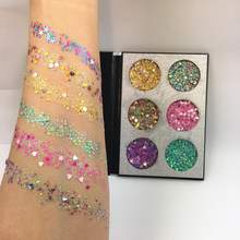 OEM Custom Private Label 6 Kleur Make Pressed Glitters Oogschaduw Palet <span class=keywords><strong>Body</strong></span> Glitter