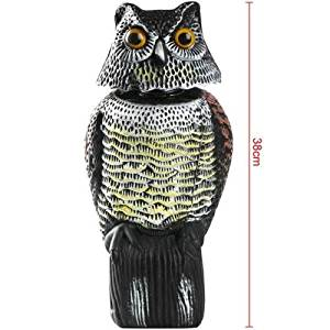 Get Quotations · Garden Defense Scarecrow Owl, Hand Painted Natural Enemy  Owls, Movable Head Scarecrow Owl