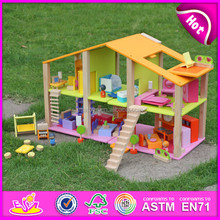 Hot new product for 2015 Kids wooden toy house,Colorful DIY children toy Doll house,Christmas gift wooden toy house W06A057-A0