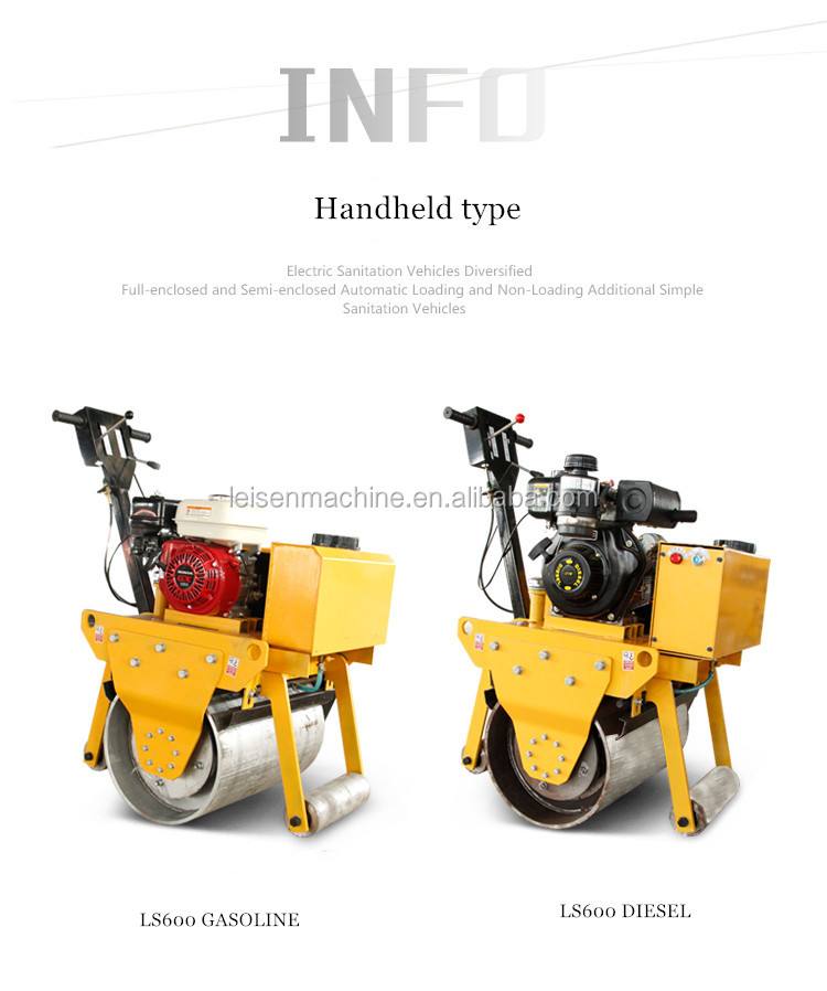 double drum walking behind mini vibratory road roller  new type gasoline single cylinder road roller for sale