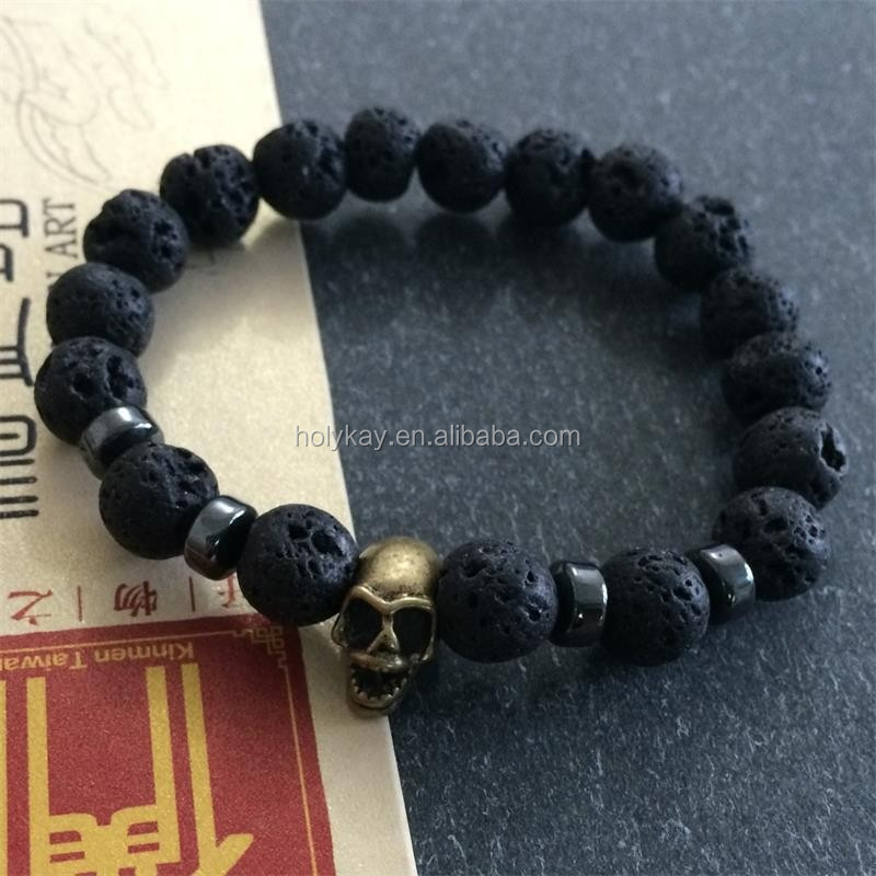 2015 new products fashion lava stone and skull beaded mens braided rope bracelets from china supplier