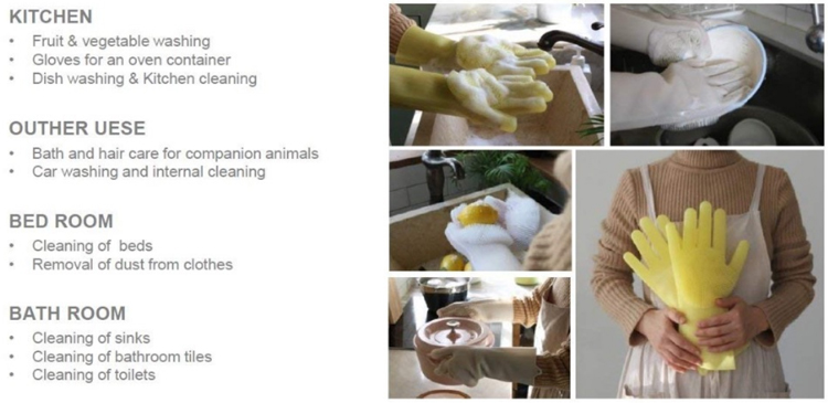 reusable realistic magic silicone dish brush hand scrubber cleaning dishwashing glove for kitchen