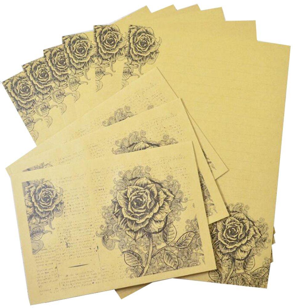 Vintage Rose Kraft Paper Design Set Letter Writing Paper Letter Sets 6Pcs Letter Writing Stationery Paper Letter Set with 3Pcs Envelopes