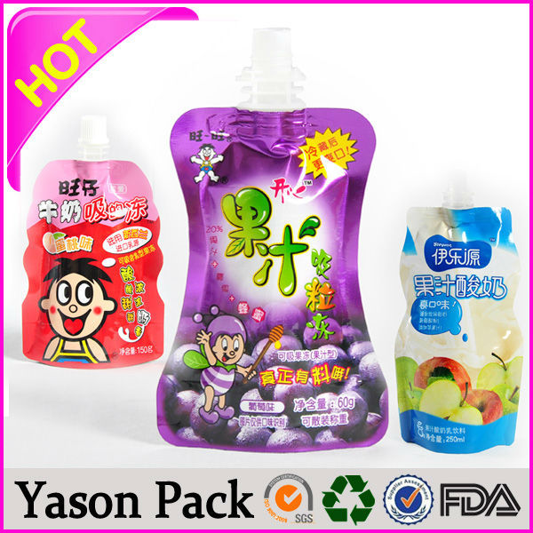 yason hot seal soft drink spout pouch packaging bag special shape juice bag with spout side spout pouch