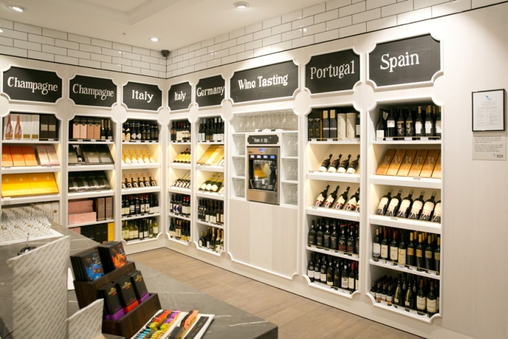 Modern design wine shop internior decoration wine display for Wine shop decoration