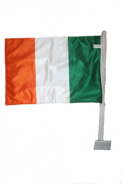"Ireland Irish Country Flag Heavy Duty Car Stick Flag 12""x18"" .. Fifa Soccer Football World Cup... New"