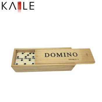 Double 6 white domino in wooden box