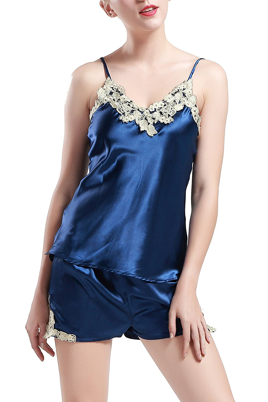 20a82ebb56 BABEYOND Silk Satin Sleepwear Shorts Set Nightwear Pyjamas Set for Women  Cami Shorts Pyjama Silk Wedding Pyjamas 2 Piece