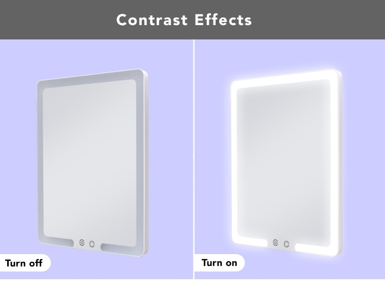 Small Size Hotel Led Lighted Bathroom Mirror With Dimmable