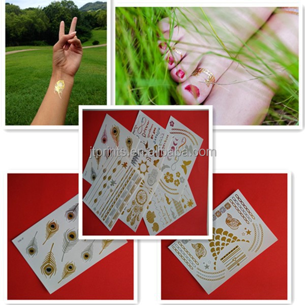 Bargain 100 pieces Grab Bag Metallic Flash Body Jewelry Temporary Tattoos Gold Silver