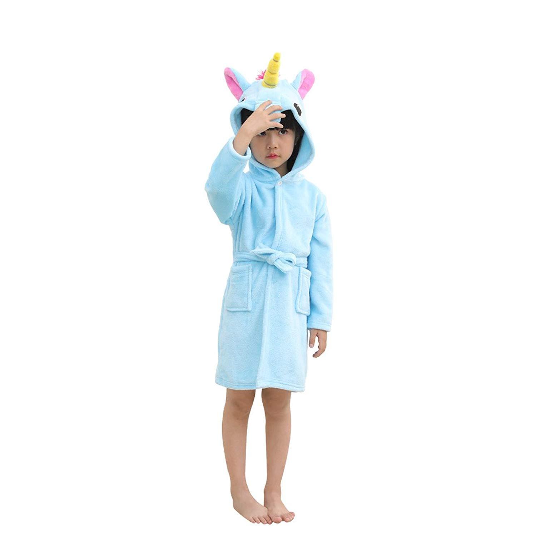 Get Quotations · Toddler Blue Unicorn Bath Robe Girls Boys Fleece Hooded  Bathrobe Kids Pajamas Children s Sleepwear Plush Kimono 65b487ab9