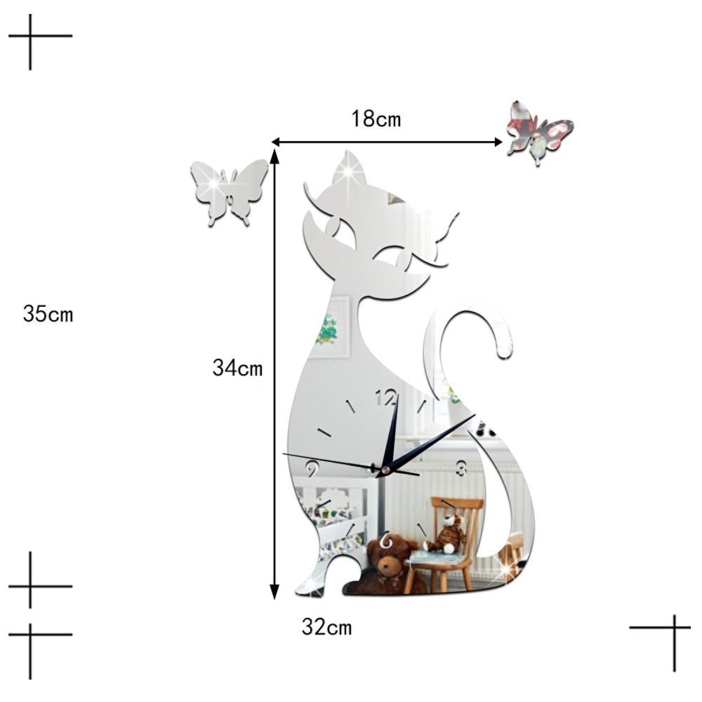 ZQ Modern European and American DIY mirror wall clock bedroom room silent wall clock cartoon black cat wall sticker clock green Stereo Mute room decoration ideas wall clock , Silver