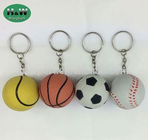 Wholesale Natrual Rubber Material Keychain Soccer Tennis Basketball Golf Shape