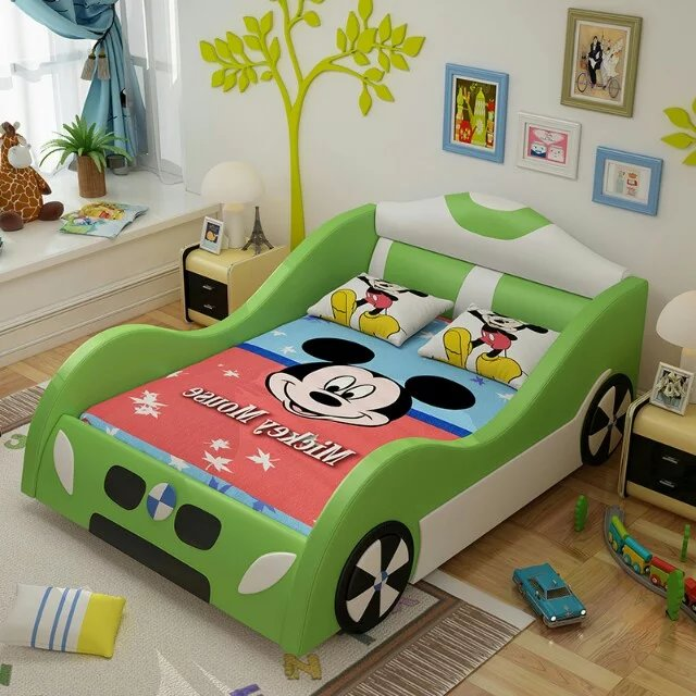 2016 new design car leather with solid wood bed kids bedroom furniture