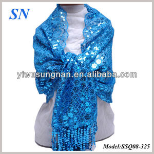 Blue Solid Color Floral Pattern Sequin Scarf Evening Shawl