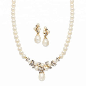 Yellow gold plated imitation pearl jewelry set