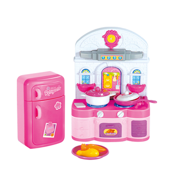 Shantou factory kids plastic play house cooking children Kitchen set toys for girls with refrigerator