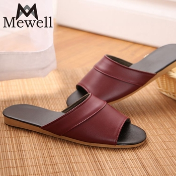 wholesale custom made pu leather slippers blank slide sandals buy