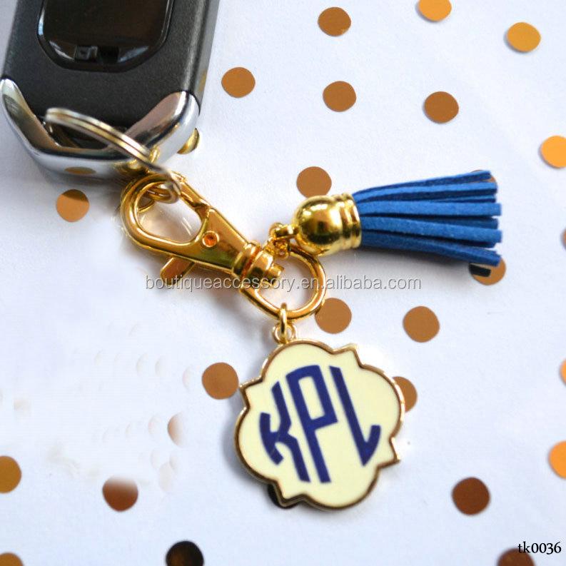 51985c983374 Gold And Cream Enamel Quatrefoil Monogram Tassel Keychain - Buy ...