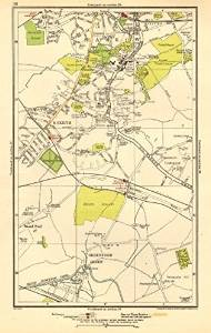 LONDON. Greenford Green, Harrow, Harrow on the Hill, Roxeth, Sudbury Hill - 1923 - old map - antique map - vintage map - London maps