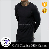 New Style custom cheap fashion men 100% combed cotton long sleeve t shirt with zipper