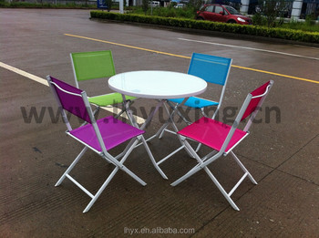 Portable Outdoor Folding Sling Chair And Table Bistro Furniture Set For Sale