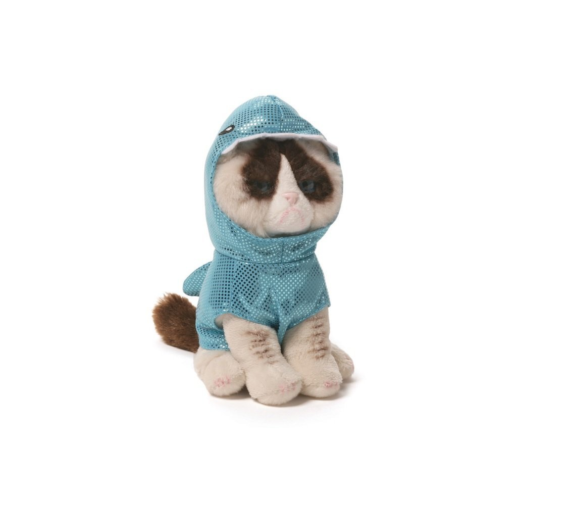 Grumpy Cat Shark Plush Stuffed Animal Toy with Sticker Book