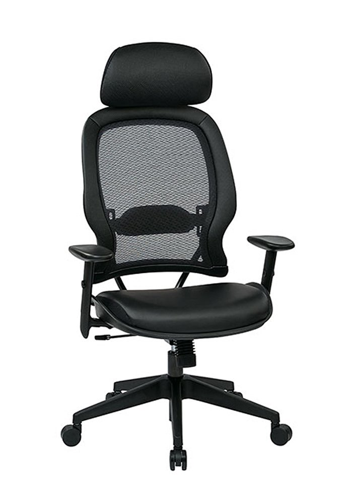 Leather Air Grid Chair with Adjustable Lumbar Support Eco-Leather
