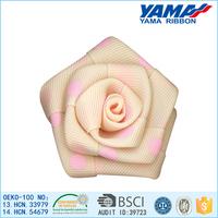 Lovely pink dot decoration printed ribbon mini craft silk flowers