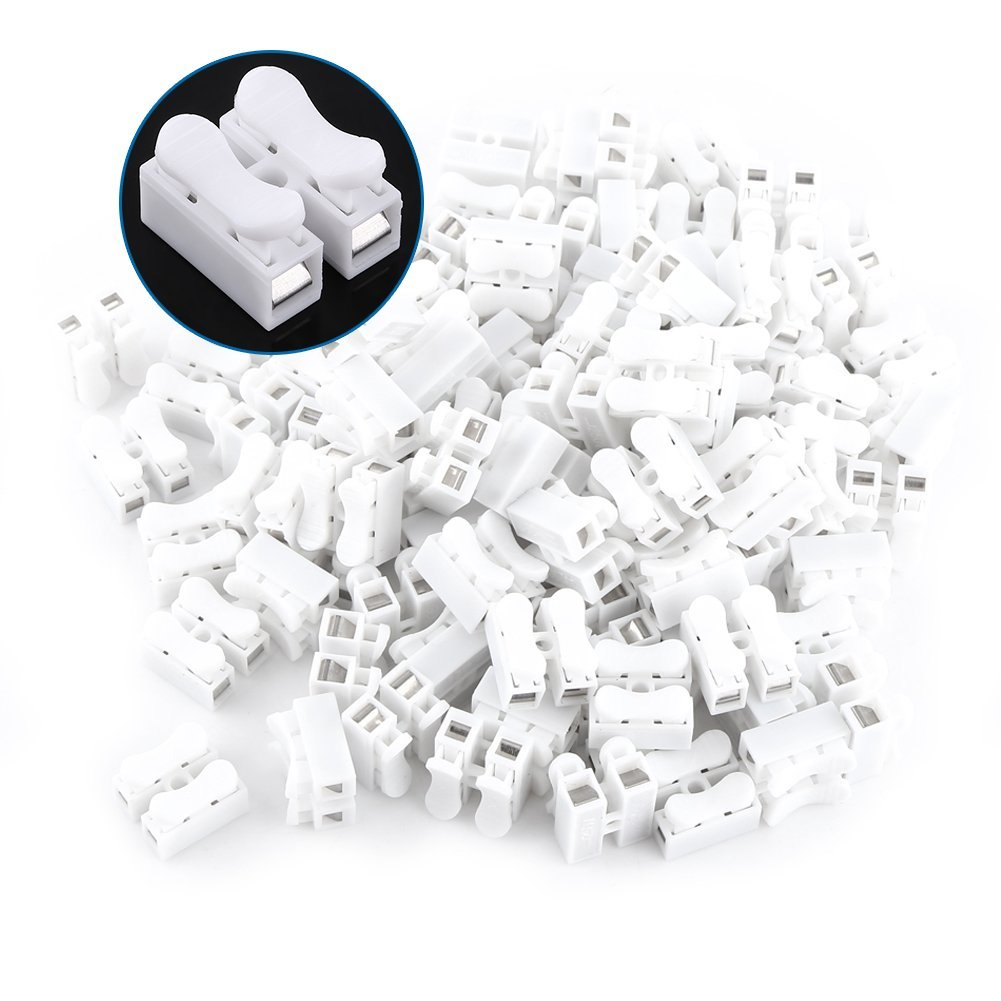 100pcs 10A 220V Excellway CH-2 2 Pin Quick Connector Spring Clamp Terminal Block LED Strip Light Wire Connector, Flame-retardant Engineering Plastics, White