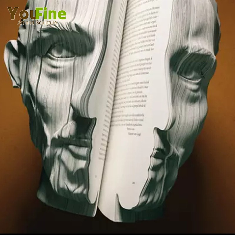 Hand Carving Abstract Marble Book Man Head Statue For Sale Buy