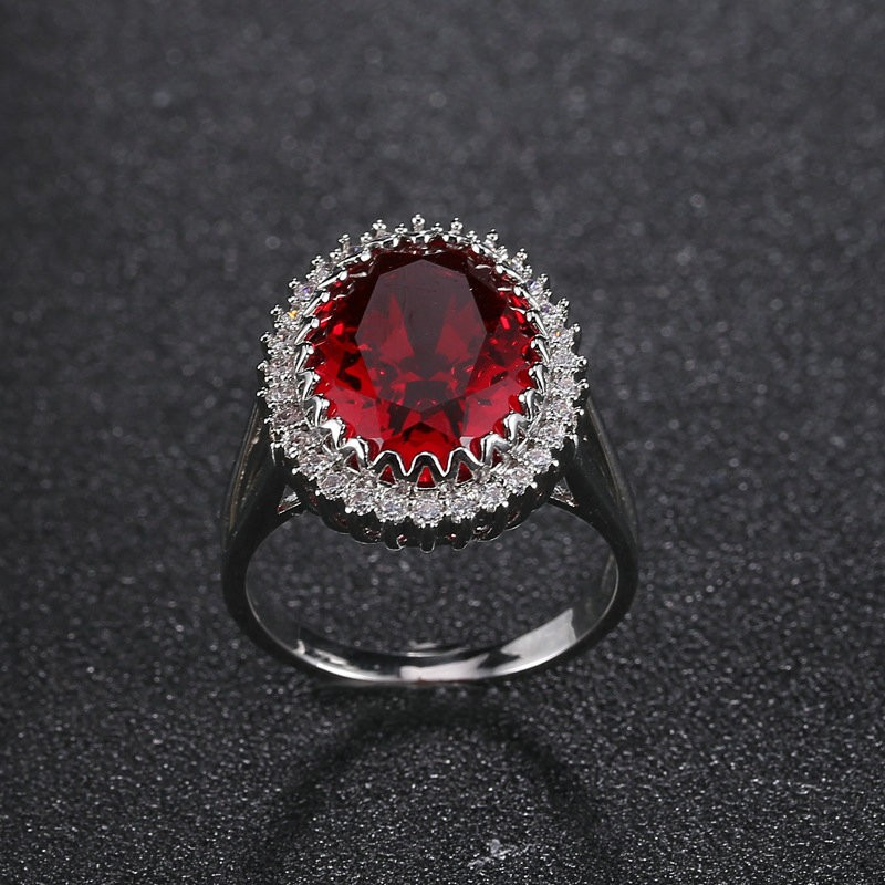 copper ruby ring individuality jewelry fashion decoration zircon ring