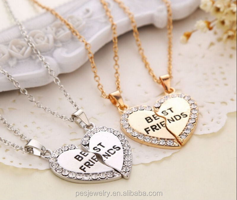 Charming Rhinestone sweet heart couple set pendant necklace with best friend(PES3-140)