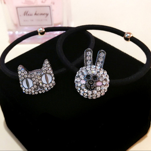 New diamond rabbit/cat head decorative hair rubber bands fancy kids rubber band for ponytail