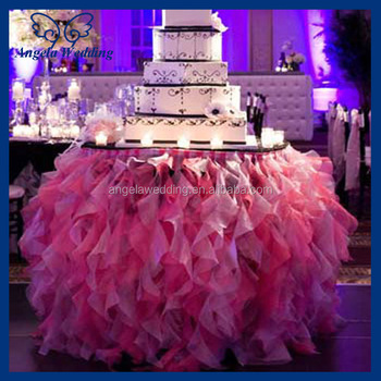 Exceptionnel CL010L Cheap Hot Sale Elegant Polyester Organza Round Ruffled Curly Willow  Frilly Hot Pink Fancy Wedding