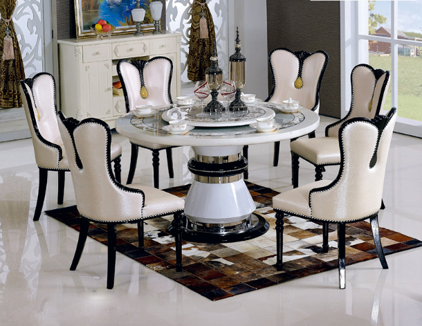 Modern Round Marble Top Rotating Dining Room Table And Chairs For S341