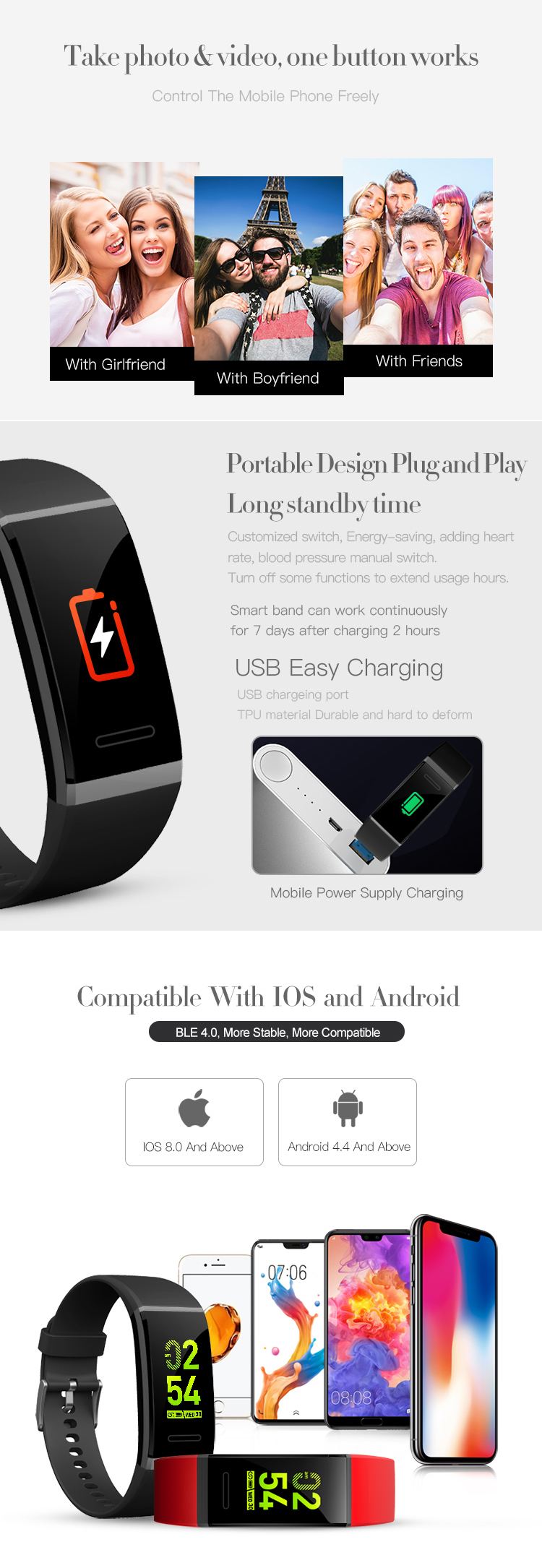 New Waterproof Standard Heart Rate Monitor 0.96inch LCD Touch Screen Smart Bracelet Fitness Tracker For Android and IOS