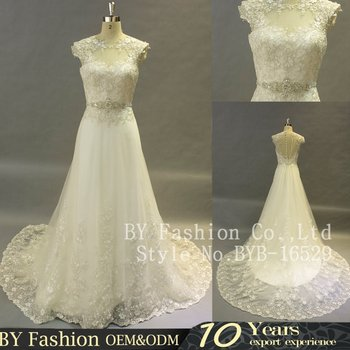 2017 Real Elegant Lace Wedding Dress Long Tail Bridal Gown With Cap ...