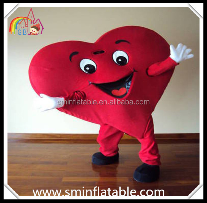 Lifelike red heart mascot costume, red heart cartoon fur costume for charity/event