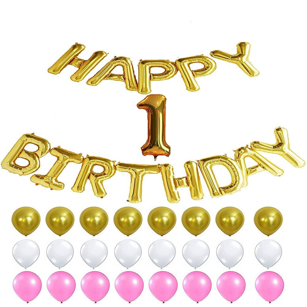 1st Birthday Decorations Happy Birthday Banner 1 Number Balloons 1st Birthday Party Decorations Supplies Favor for Girls Party