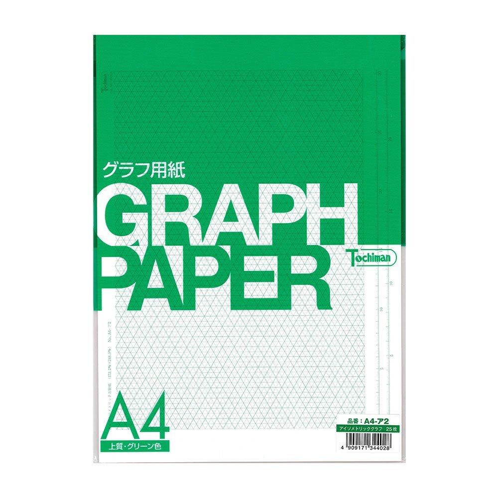 Sakaeshigyo Tochiman isometric graph (I.P.P.) paper 81.4g 172.2mm ¡Ñ 248.5mm A4 25 sheets green color A4- A 2