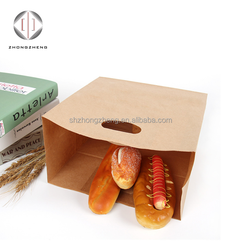 disposable wholeasle kraft paper takeaway food packaging die cut handle paper bag