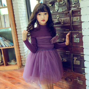 abe9a694d7f 2018 baby girls dress long sleeve kids winter sweaters dresses purple  flower childrens dress Christmas kids
