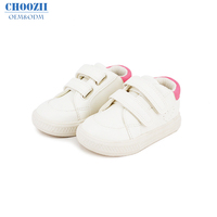 Choozii Toddler Sneakers White Genuine Leather Hard Sole Sport Baby Shoes School Shoes for Boys and Girls