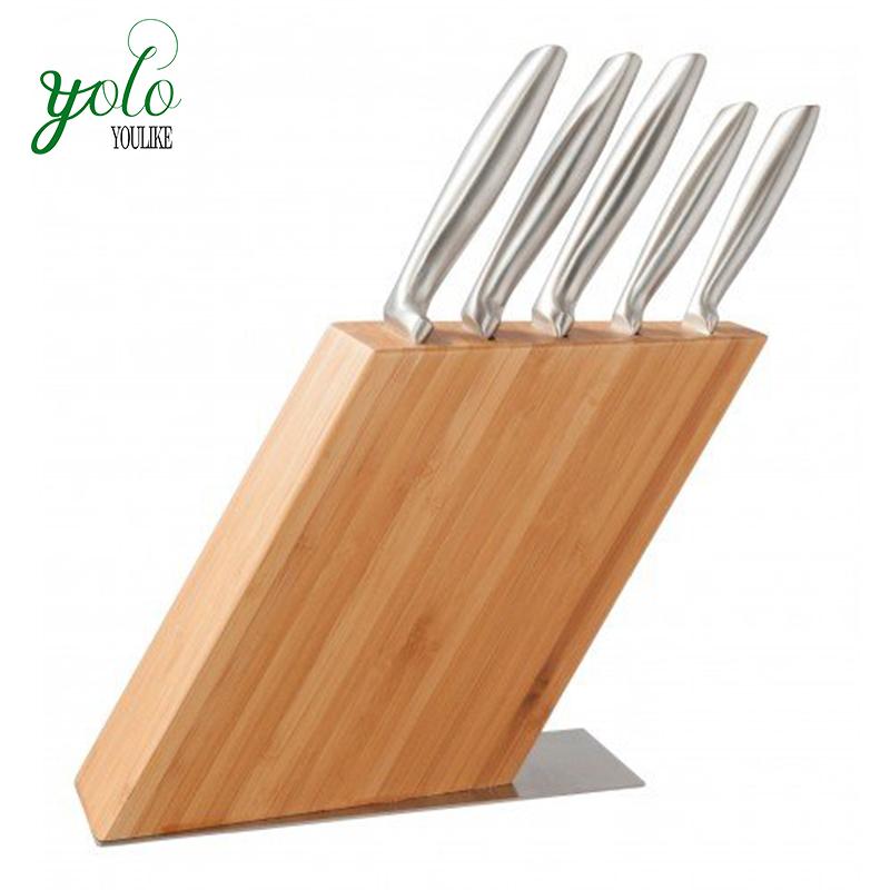 Durevole Cucina Stand 5 Slot Magnetico Supporto di Storage a Blocchi Coltello Di Bambù