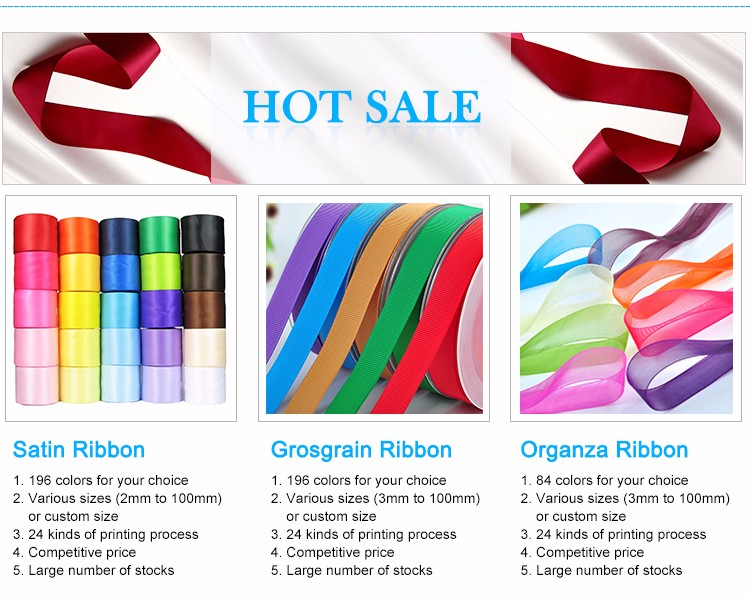 Factory stock custom printed fashion and colorful gift packing satin polyester ribbons