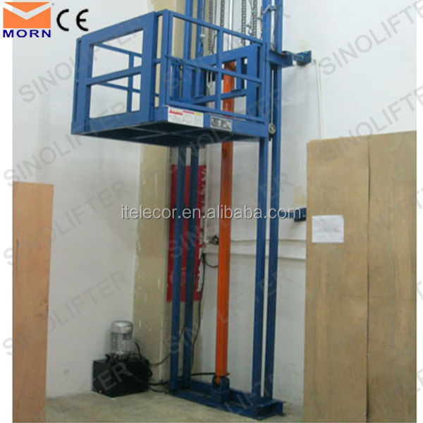 2016 Vertical Electric Hydraulic Guide Rail Goods Lift