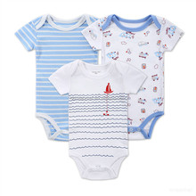 Chinese Supply Baby jongens <span class=keywords><strong>Pasgeboren</strong></span> Cartoon Rompertjes Kleding Bodysuit Jumpsuit Sets Zuigeling Streep Outfit Romper <span class=keywords><strong>Kleren</strong></span>