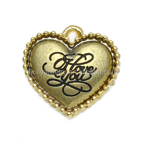 Fashion Jewelry Vogue Heart Shape English Love Engraved Gold Pendant for Bulk Wholesale